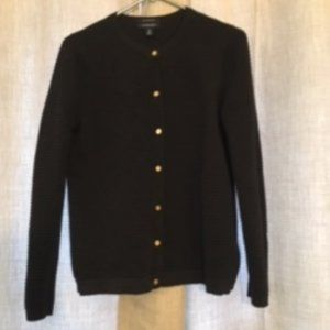 Lands End Black Cotton Sweater Size S (6-8)